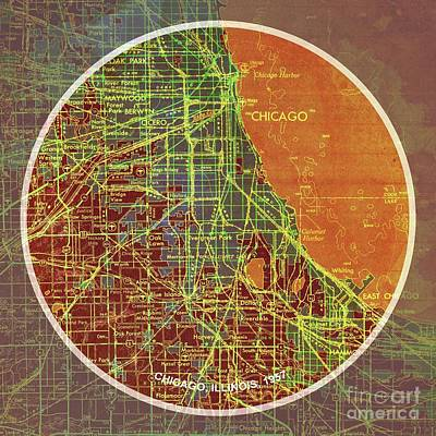Vintage Map Digital Art - Chicago 1957 Old Map, Chicago Frank Lloyd Wright Quote by Pablo Franchi