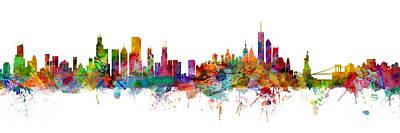 Digital Art - Chicago And New York City Skylines Mashup by Michael Tompsett