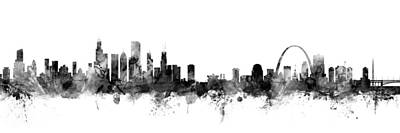 Digital Art - Chicago And St Louis Skyline Mashup by Michael Tompsett