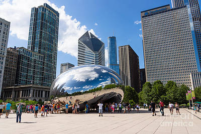 The Bean Photograph - Chicago Bean Cloud Gate With People by Paul Velgos