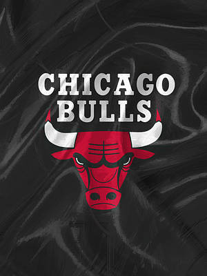 Ball Painting - Chicago Bulls by Afterdarkness