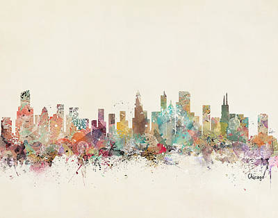 Colourfull Painting - Chicago City by Bleu Bri