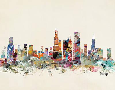 Chicago Skyline Painting - Chicago City Skyline by Bleu Bri