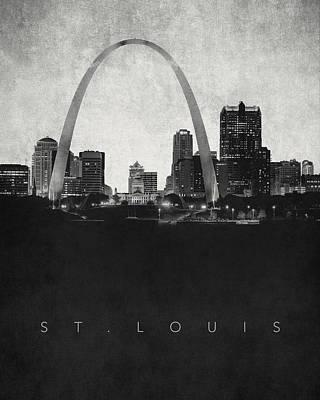 Gateway Digital Art - St. Louis City Skyline - Urban Noir by World Art Prints And Designs