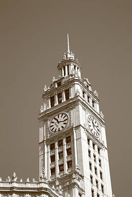 Chicago Clock Tower Art Print by Frank Romeo