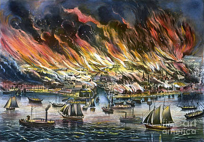 Painting - Chicago: Fire, 1871 by Granger