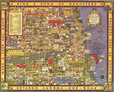 Painting - Chicago Gangland Map by Roberto Prusso