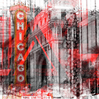 Megacity Digital Art - Chicago Geometric Mix No 4 by Melanie Viola