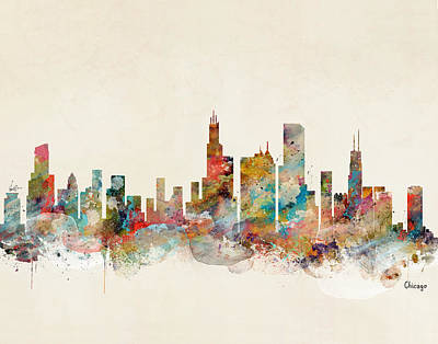 Painting - Chicago Illinois Skyline by Bleu Bri