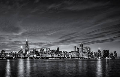 Sears Tower Photograph - Chicago In Black And White by Matt Hammerstein