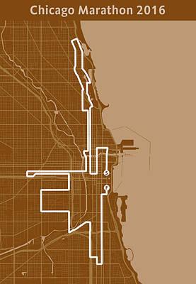 Running Digital Art - Chicago Marathon Brown by Big City Artwork