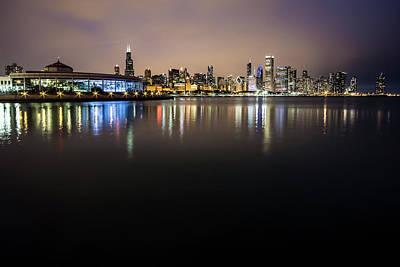 Photograph - Chicago Night Skyline  by Sven Brogren