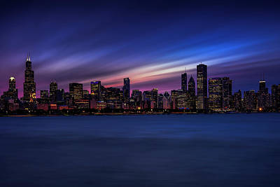 Midwest Photograph - Chicago Skyline At Dusk by Andrew Soundarajan