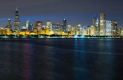 Windy Photograph - Chicago Skyline At Dusk by Twenty Two North Photography