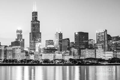 City Scenes Royalty-Free and Rights-Managed Images - Chicago Skyline Black and White Photo by Paul Velgos