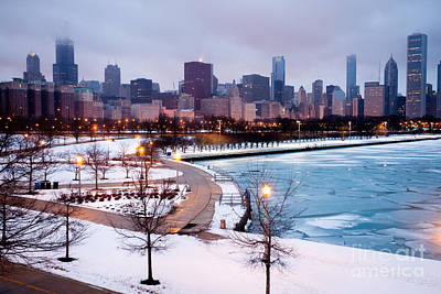 Chicago Skyline In Winter Art Print by Paul Velgos