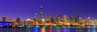 Crowd Scene Photograph - Chicago Skyline With Cubs World Series Lights Night, Lake Michigan, Chicago, Cook County, Illinois by Panoramic Images