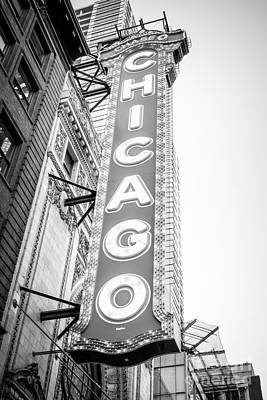 Chicago Theatre Photograph - Chicago Theatre Sign Black And White Photo by Paul Velgos