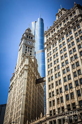 Chicago Trump Tower And Wrigley Building Art Print