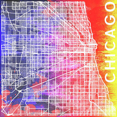 Pop Art Royalty-Free and Rights-Managed Images - Chicago watercolor by Delphimages Photo Creations