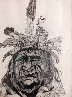 Indian Ink Mixed Media - Chief by Franky A HICKS