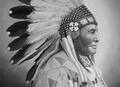 Pencil Drawing - Chief by Tim Dangaran