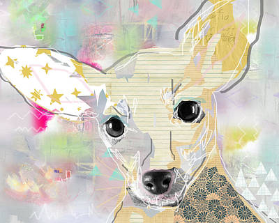 Neon Mixed Media - Chihuahua Collage by Claudia Schoen