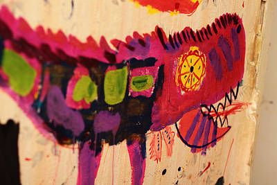 Painting - Child Drawing. Painted Wall With Color Dragon. by Yana Shonbina