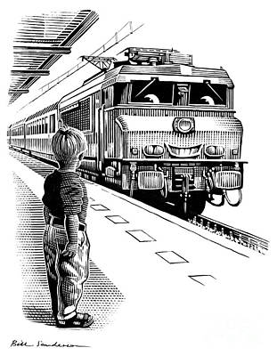 Linocut Photograph - Child Train Safety, Artwork by Bill Sanderson