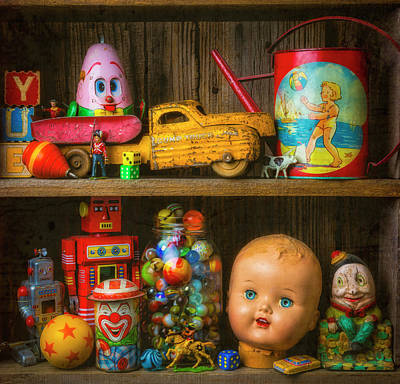Photograph - Childhood Toys On Old Shelf by Garry Gay