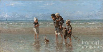 Little Girl On Beach Painting - Children Of The Sea by Jozef Israels