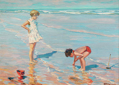 Sandcastles Painting - Children On The Beach by Charles Garabed Atamian