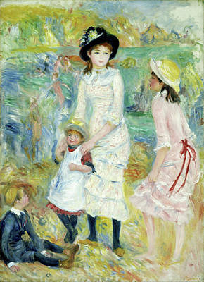 Coastline Painting - Children On The Seashore, Guernsey by Pierre-Auguste Renoir