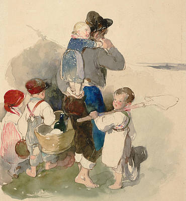 Drawing - Children On Their Way To Work In The Fields by Peter Fendi