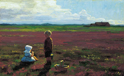 Painting - Children Picking Berries On The Moor by Einar Hein