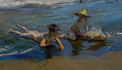 Children Playing On The Beach Art Print by Joaquin Sorolla