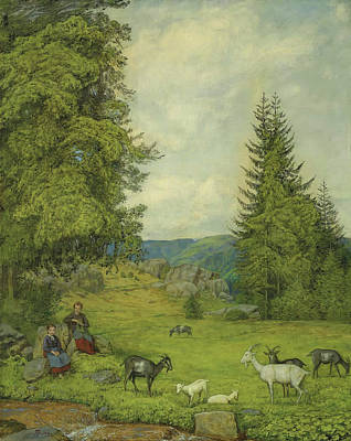 Mountain Goat Art Painting - Children With Goat Herd by Hans Thoma