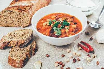 Chili Beans Stew, Bread, Red Chili Pepper And Garlic Ready To Be Served Print by Radu Bercan