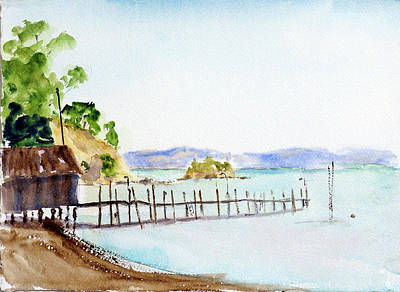 Painting - China Camp Wharf by Tom Simmons