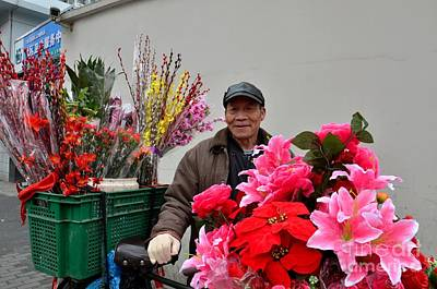 Photograph - Chinese Bicycle Flower Vendor On Street Shanghai China by Imran Ahmed