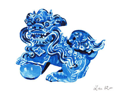 Yin And Yang Painting - Chinese Foo Dog - Fu Guardian Lion Blue Ceramic Chinoiserie by Laura Row