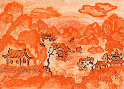 Painting - Chinese Landscape In Orange, Painting by Irina Afonskaya