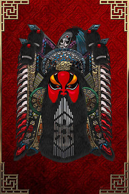 Chinese Masks - Large Masks Series - The Red Face Art Print by Serge Averbukh