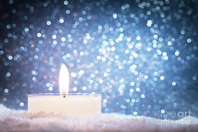 Burnt Photograph - Chistmas Candle Glowing On Glitter Background. by Michal Bednarek