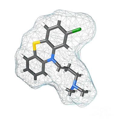 Chlorpromazine, Molecular Model Art Print by Spencer Sutton