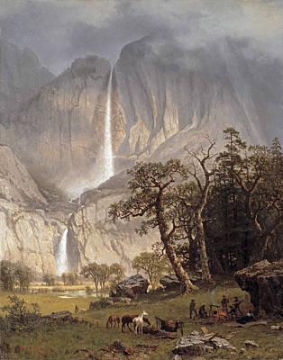Yosemite Painting - Cho Looke The Yosemite Fall by Albert Bierstadt