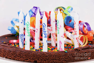 Photograph - Chocolate Brownie Birthday Cake With Candles by Vizual Studio