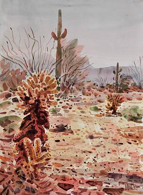 Cholla Saguaro And Ocotillo Art Print