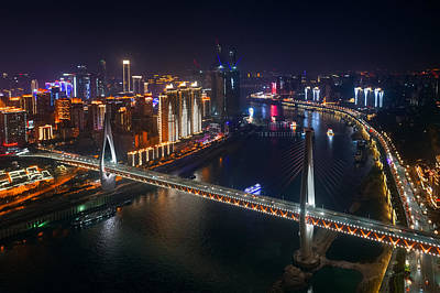 Photograph - Chongqing Bridge Night Aerial by Songquan Deng