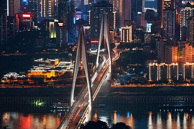 Photograph - Chongqing Bridge Night by Songquan Deng